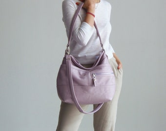 Large leather hobo bag - Slouchy leather bag - Women's handmade handbags - Pink SOLIN bag on SALE