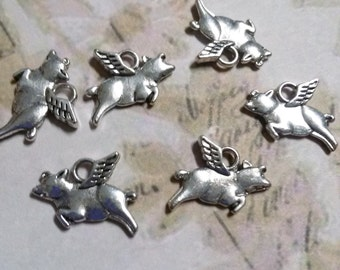 Flying Pig Charms-When Pigs Fly-Silver-Bulk Charms-Pig Charms-50pcs-Wholesale Charms