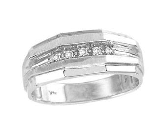 Mens Diamond Ring 14K Yellow or White Gold Ring Wedding Band
