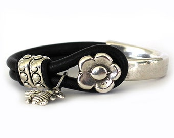 Flower Half Hook Women's Leather Bracelet - Women's Bracelets - Charm Bracelet - Women's Leather Bracelet - Statement Bracelet - WL1006