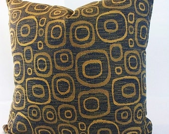 Blue and gold pillow cover, Blue and gold cushion covers, Blue and gold pillow cases, Blue and gold decor couch geometric navy circkes throw