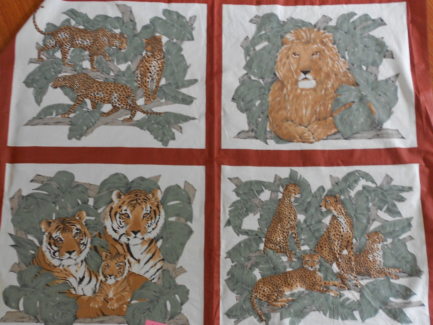 Large Fabric Panels : Big cats panels quilting pillows cotton fabric by