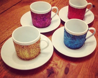 Set of 4 glittered espresso cups - can be done in colours of your choice