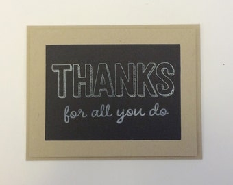 Teacher Appreciation Card, Thanks for all you do chalkboard