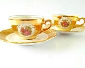 JWK Bavaria Gold Porcelain Demitasse Tea Cup and Saucer Jean-Honoré Fragonard Marie Antoinette Set of 2
