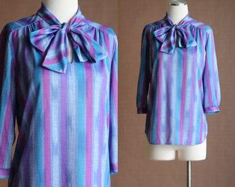 SALE: Vintage 70s Tie Neck Blouse - Purple and Blue Striped Shirt - Ascot Bow Tie Secretary Blouse - Purple Blouse - Size Small / Medium