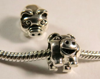 925 Sterling Silver Plated Pig like a Piggy Bank european type charm with the screw on hole.