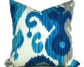 Indoor Outdoor Pillow Covers ANY SIZE Decorative Pillow Ikat Pillow Blue Pillow Braemore Outdoor Journey Seaglass