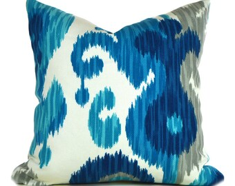 Outdoor Pillows Outdoor Pillow Covers Decorative Pillows ANY SIZE Pillow Cover Ikat Pillow Blue Pillow Braemore Outdoor Journey Seaglass
