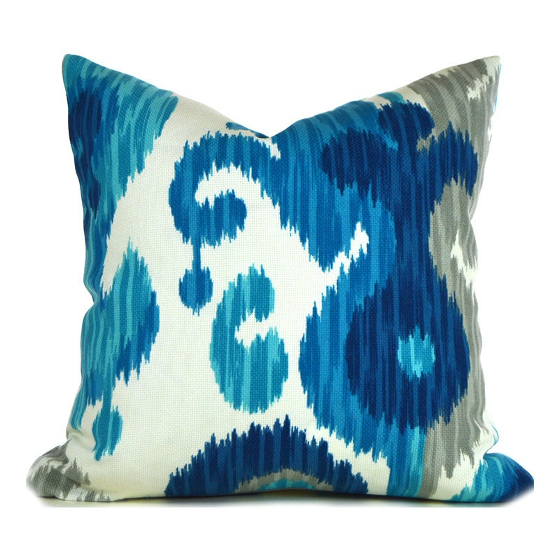 Indoor Outdoor Pillow Covers ANY SIZE Decorative Pillow Ikat