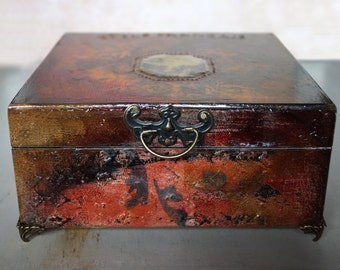 Vintage Box, jewelry Storage Box, Renaissance Box, Decoupage Box, wooden decoupage, wooden box, home decor, French style , art box