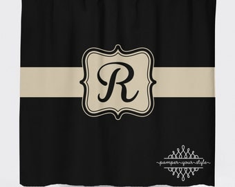 Black and Tan Monogrammed Shower Curtain - Classy Bathroom Shower Curtain - Guest Bathroom