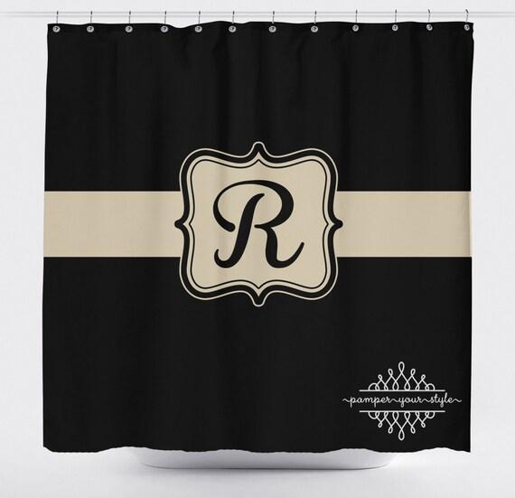 Black And Tan Monogrammed Shower Curtain Classy Bathroom