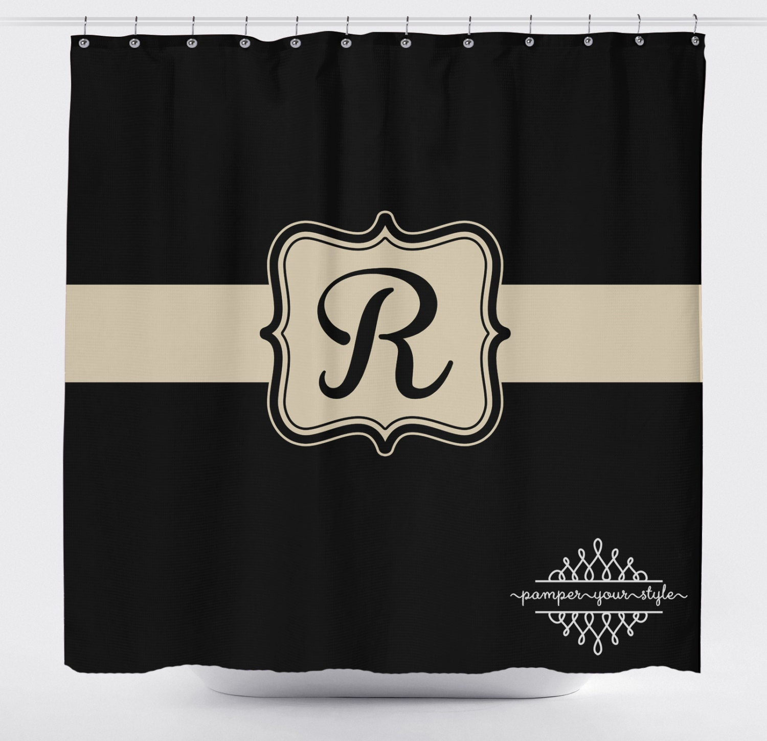 Black And Tan Monogrammed Shower Curtain Classy Bathroom