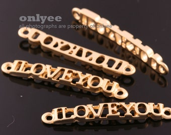 4pcs-35mmX4.5mm Matte Gold plated over Brass Love connectors,Bracelet for Jewelry (K073G)