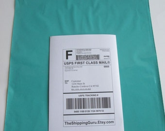 """100 12""""x15"""" Teal Green Poly Mailer Envelopes - In Stock"""