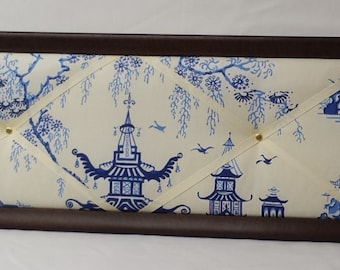 Chinoiserie fabric message board. Antique frame.