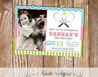 Pink Turquoise and Chartreuse Girl Tennis Birthday Party Invitation with photo - choose your colors - polka dots chevron stripes