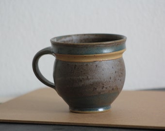 Vintage Mug Handmade Ceramic Home Decor Green Brown Pottery