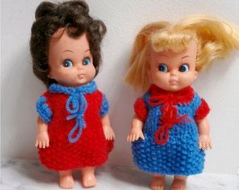 PAIR Vintage Big Eyes Kitsch Doll rubber / plastic