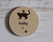 "Round Tile with Cat for Family Birthday Reminder Board....""Cat Birthday""....Pet Birthday....HAVENSPLACE"