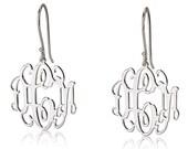 """Monogram Earrings - 925 Sterling Silver Initial Earrings- 0.8"""""""