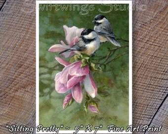 Chickadee Bird Print - Flower Print - Wildlife Print - Bird Print