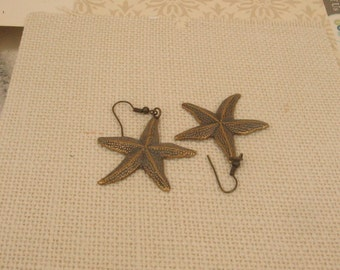 100% Donation Item - Large Brass Star Fish Earrings in Antique Brass