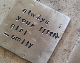 CUSTOM Inspiration Metal Card Hand Stamped Recycled metal