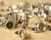 50 pc. 8mm Ear Post Blank Cabochon Setting Silver, Nickel Free | FI-167