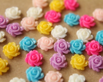 48 pc. Tiny Multi-Colored Flower Cabochons 7mm | RES-514