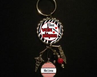 Personalized Vein Whisperer Key Ring--  phlebotomist, keychain, phlebotomist gift, phlebotomist gifts, lab tech, lab technician, phlebotomy