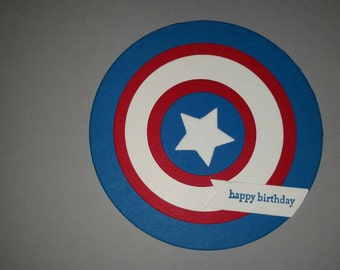 Captain America Shield birthday card, Captain America Birthday Card, Avengers Birthday, Circle Shield Card, Winter Solider Birthday