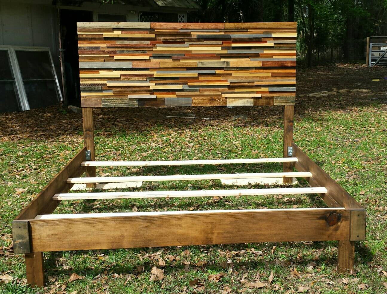 King Reclaimed Wood Bed Simple Frame by jenssimpledimensions