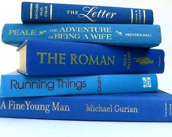 Waves of Blue Vintage Books / Book Decor / Instant Library / Wedding Decor / Book Bundle / Home Decorating / Library Filler