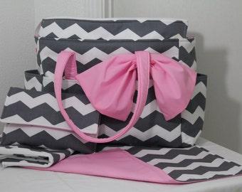 Chloe XL Diaper Bag Set w/ Bow- Grey Chevron and Kona Cotton Pink- Made to Order