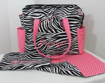 Monogrammed Chloe XL Deluxe Diaper Bag Set w/ Adjustable Strap- Your Choice of Any Fabric- Made to Order