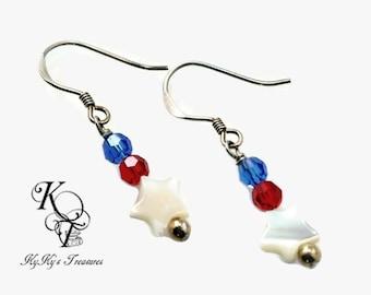 Star Earrings, Patriotic Earrings, Red White and Blue Jewelry, Patriotic Jewelry, July 4th Jewelry, Fourth of July Jewelry, Fourth Of July
