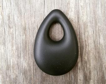 1 Black Teardrop Silicone Pendant - Food Grade & BPA Free Teething Pendant