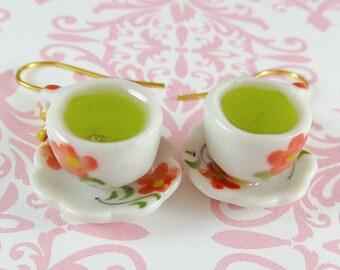 Green Tea Earrings Polymer Clay Tea Cup Charm Jewelry Kawaii Accessory Lolita Fashion