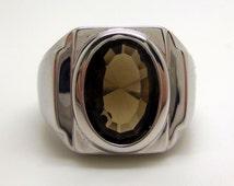 5.35 Carat Smoky Citrine Men's Gemstone Ring Size 11 1/2 Rhodium Plated Sterling Silver Hand Cut Gem