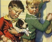 Injured Puppy, Boys Take Puppy to Medical Doctor, Forget the Vet, Antique Restored Print, 1926 Print RESTORED Art  #54