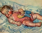 Innocence Asleep, Restored Antique Art, Baby Napping by Maude Tousey Fangel  #39
