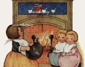 """Second Nursery Rhyme Series, """"Polly Put The Kettle On, We'll All Have Tea""""  RESTORED Antique Print, Wonderful Wall Art for Kitchen #203"""