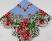 Vintage Hankie Handkerchief, Dead Stock, Blue with Pink Flowers, Stunning Swirls,  Great  for  Framing, Sewing, Crafts, Collage G2