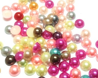 Assorted Color Flat Black Pearls mixed colour in size 5mm or 8mm