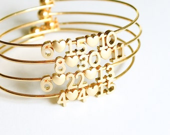 milestone bracelet // date bracelet // silver or gold