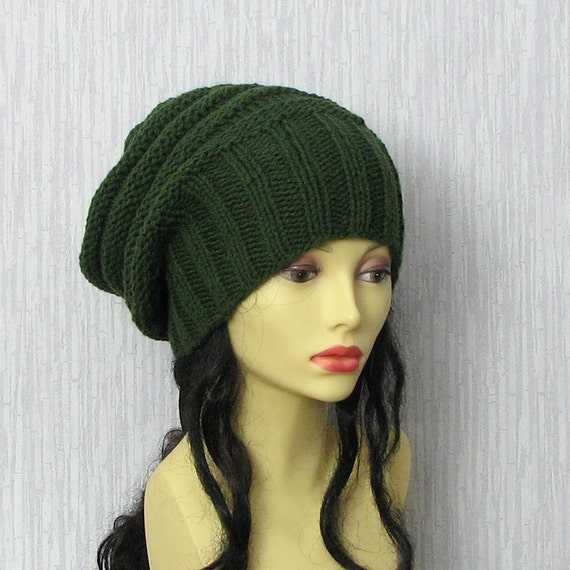 khaki green knit hat womens floppy hat green by albadofashion