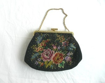Vintage petit point purse - vintage evening purse - embroidered evening bag - petit point evening purse - black satin embroidered purse