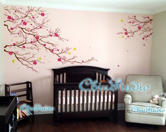 Cherry Blossom Tree Wall Decal , Flowers ,Butterfly, baby, Nursery wall decals Wall Sticker